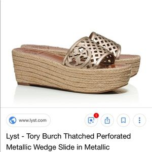 Tory Burch thatched perforated metallic slide